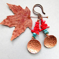 EARTH & SKY - Shiny Copper Domed Earrings of Turquoise and Coral Desert Gypsy Bohemian Hippie Chic Southwest Dangle Textured