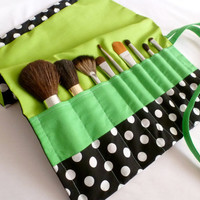 Black and White Polka Dots Lime Green Make Up Brush Roll