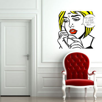 "Pop Art inspired by Roy Lichtenstein ""Oh, Jeff...I Love You, Too...But..."" removable vinyl wall decal"