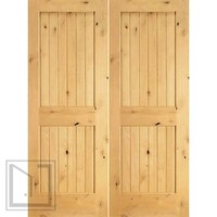 S/W-96 Interior Knotty Alder Wood 2 Panel V-Grooved Double Door