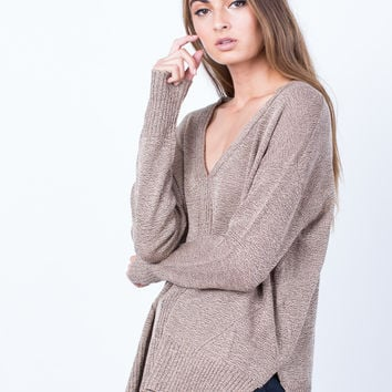 Taupe it Off Sweater Top - Medium