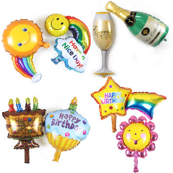 8Pcs Rainbow Smiley Inflatable Foil Balloons Happy Birthday Decoration Champagne Cup Bottle Air Balloons Wedding Party Balloon