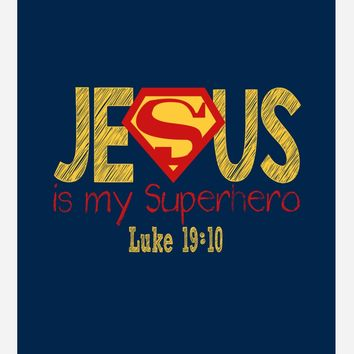 Superman Christian Superhero Nursery Decor Art Print in chalk lettering - Jesus Is My Superhero - Luke 19:10 - Multiple Sizes