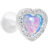 16 Gauge Blue Synthetic Opal Heart Bioplast Cartilage Tragus Earring | Body Candy Body Jewelry