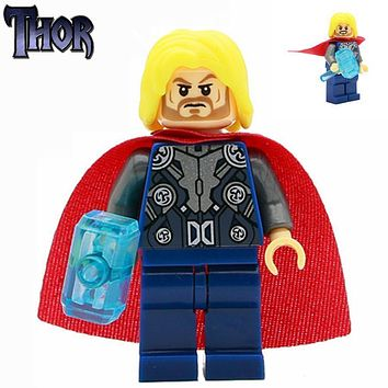 SingleSale Thor Odinson with crystal hammer Loki minifig Marvel Super Heroes Avengers Assemble Model Building Blocks Toys Gift