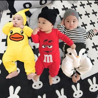 2017 baby autumn spring cotton cartoon Penguin style boy clothes newborn baby girl clothing infant  jumpsuit for baby clothes
