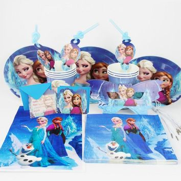 Cool 92pcs/set Snow Queen theme Birthday set girls birthday party decoration plate cup napkin mask giftbag for 12kids party suppliesAT_93_12