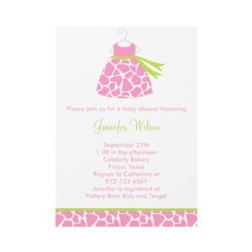 Pink Giraffe Print Baby Shower Invitation from Zazzle.com