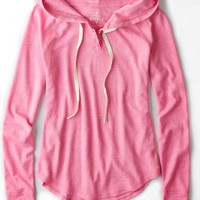 AEO Women's Split Neck Waffled Hoodie T-shirt