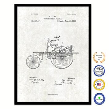 1888 Carl Benz Self Propelling Vehicle Vintage Patent Artwork Black Framed Canvas Print Home Office Decor Great Gift for Mechanic Car Collector