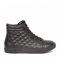 Yab Quilted Lace-up Ankle Sneakers in Black @ yabshop.com