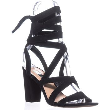 I35 Kailey Lace-Up Block-Heel Sandals, Black Suede, 5.5 US
