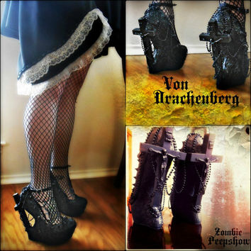 "Crucifix ""Von Drachenberg"" Curved Heelless Wedges"