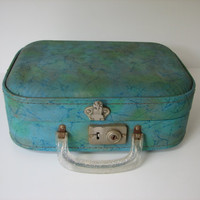 Small Vintage Doll Suitcase with Clear Silver Glitter Handle Great for Repurposing