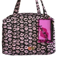 Luv Betsey Johnson LB41019 Blush Lips Quilted Weekender Bag + Makeup Case