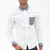 Contrast Collared Shirt White/Blue X-Small