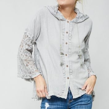 Floral Lace Hoodie Blouse