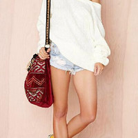 White Long-Sleeve Loose Sweater