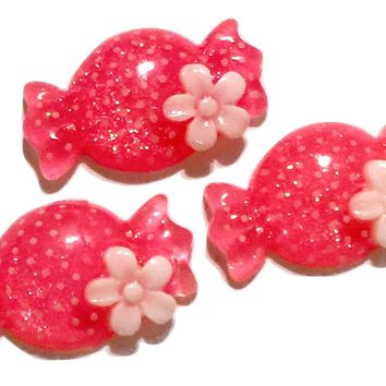 Pink polka dot candy resin cabochon 24x14mm / 1-5 pieces