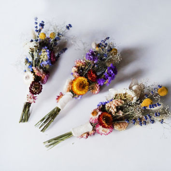 SET OF 3 SMALL Bridal bridesmaid bouquet, wedding dried flowers, wild flowers bouquet, wedding bouquet, dried lavender dried flowers bouquet