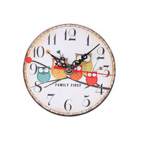 Round Imitation Wood Desk Clock Owl Pattern Home School Study Office Decor Needle Clock with Installation Hooks Diameter 11.5CM