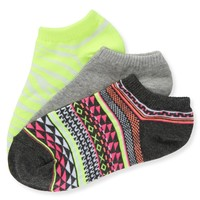 3-Pack Geo, Solid & Zebra Ped Socks