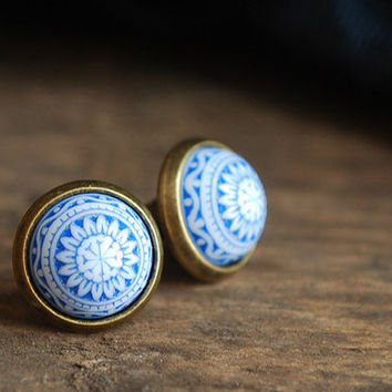 "Blue mosaic """" Blue and white Cabochon Earstuds // nautical"
