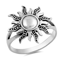 Sterling Silver Women's Ring Sun 18MM