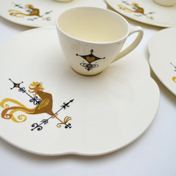 Vintage Edwin Knowles Weather Vane Cups and Saucers, Set of 4 Rooster Tea  or Coffee Cups and 4 Snack Plates, 1950s