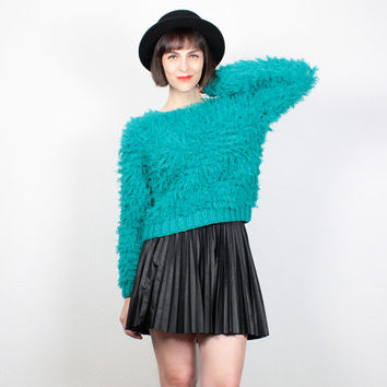 Vintage 90s Sweater Feathered FRINGE Furry Fuzzy Jumper 1990s Teal Green Pullover Empire Records Costume Club Kid Monster Sweater M Medium