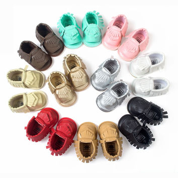 2016 Summer  PU Suede Leather Newborn Baby Boy Girl Baby Moccasins Soft Shoes Bebe Fringe Soft Soled Non-slip Footwear Crib Shoe