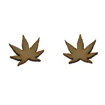 Hemp Earrings in Birch Wood