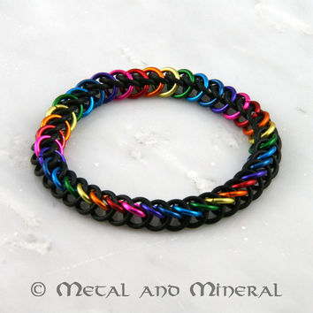 Rainbow and Black Persian 3 in 1 Chain Maille Stretchy Bracelet
