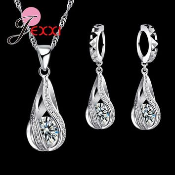 Jemmin Hot Sell 925 Sterling Silver Crystal Jewelry Sets Fashion Hollow water Drop White Necklace Pendant Hoop Earrings Set