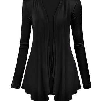 ZLYC Women's Long Sleeve Draped Open Front Asym Hem Light Cardigan