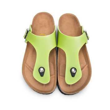 2017 NEW Birkenstock Summer Fashion Leather Cork Flats Beach Lovers Slippers Casual Sandals For Women Men black Couples Slippers size 36-45