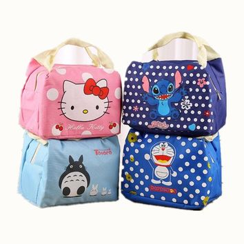 Thermal Cooler Lnsulated Waterproof Cartoon Cat Stitch  Lunch Carry Storage Picnic Bag Pouch Lunch Bag for Women Kids