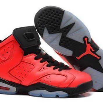 Hot Air Jordan 6 Retro Women Shoes Red Black Grey