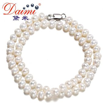 [DAIMI] 6-7MM Natural Freshwater White Pearl Necklace Single Necklace For Women