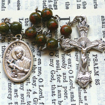 St. Gerard Chaplet - Patron of Mothers, Unakite Gemstone, Green and Pink