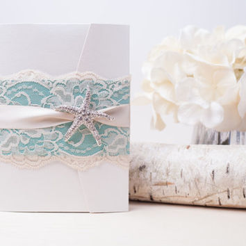 SANDY: Tiffany Blue and Ivory Beach Wedding Invitation ~ Starfish Wedding Invitation ~ Destination Wedding Invitation ~ Summer Wedding