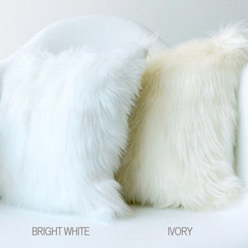 White fur pillow throw TWO 18 X 18 fluffy white fur white suede pillow cover decorative Set of TWO