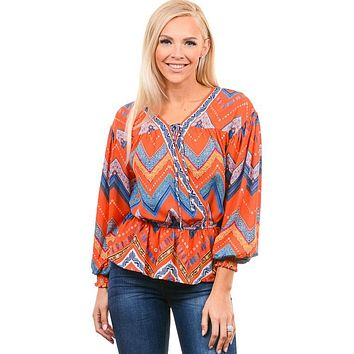 Tomato Chevron Tribal Blouse