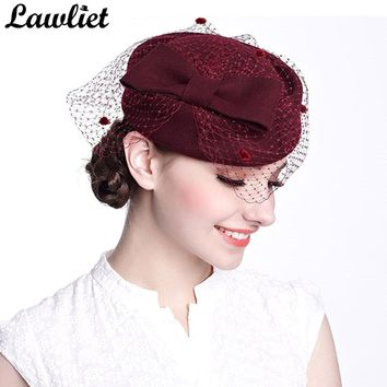 c0383bb3a13 Winter Fedoras Pillbox Hats Vintage Style Wool Felt Women Fascinator Hat  with Bow Veil Wedding Hats