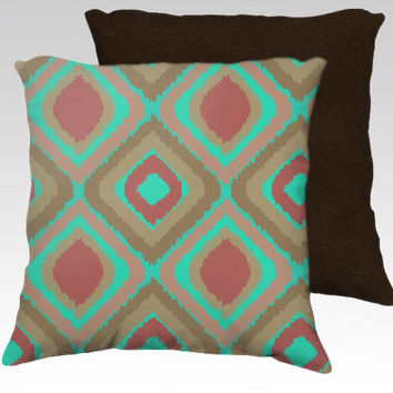 VINTAGE IKAT PILLOW - home, decor, green, pink, coral, pillow, bedroom, sofa, couch, pattern, seamless, retro, cool,