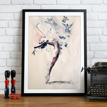 Ballerina watercolor art print. Wall art, wall decor, digital print.