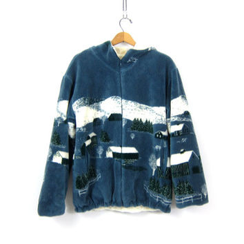 Blue Fuzzy Fleece coat oversized Graphic Nature print blanket coat Zipper coat Hooded jacket Warm Winter Fleece coat women's size Small