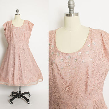 Vintage 50s Dress - Pink Mauve Lace Full Skirt Cocktail Party Dress 1960s Volup - XL Extra Large
