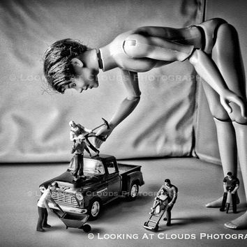 Ken Makes Friends, outsider fine art photo, Ken doll without Barbie, miniatures, surreal, art for cool kids