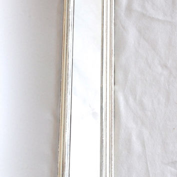 Distressed Shabby Chic Long White Rectangle Mirror